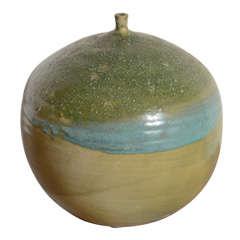 Mid-Century Vase with Green + Turquoise Glazing