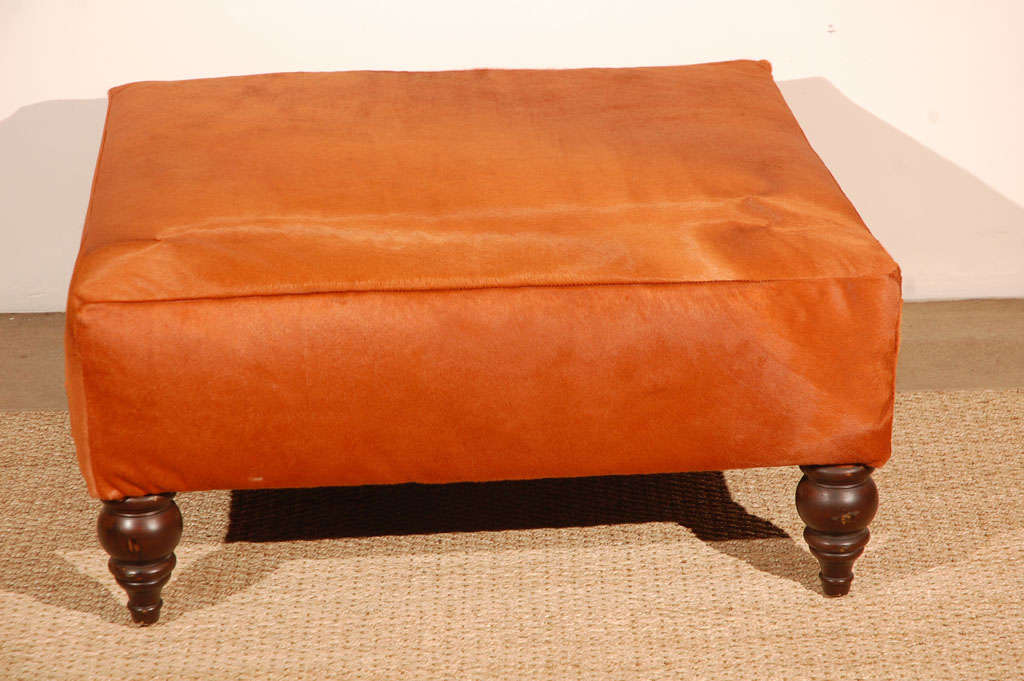 Orange Cowhide Ottoman At 1stdibs
