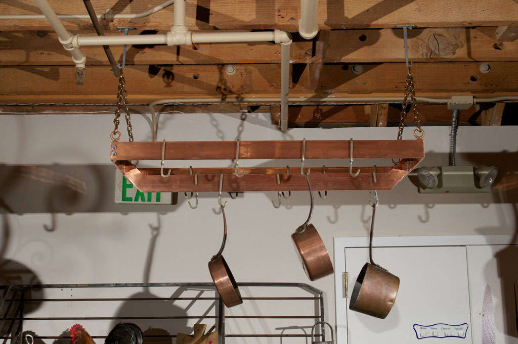 20th Century Copper plated Metal Hanging Pot Rack