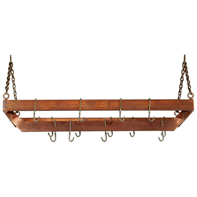 Copper Plated Metal Hanging Pot Rack At 1stdibs