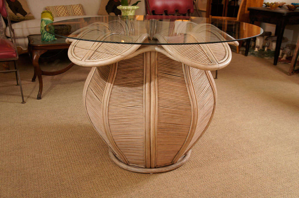 Here Is A Gorgeous Rattan Table Base In The Shape Of A Bell Flower.