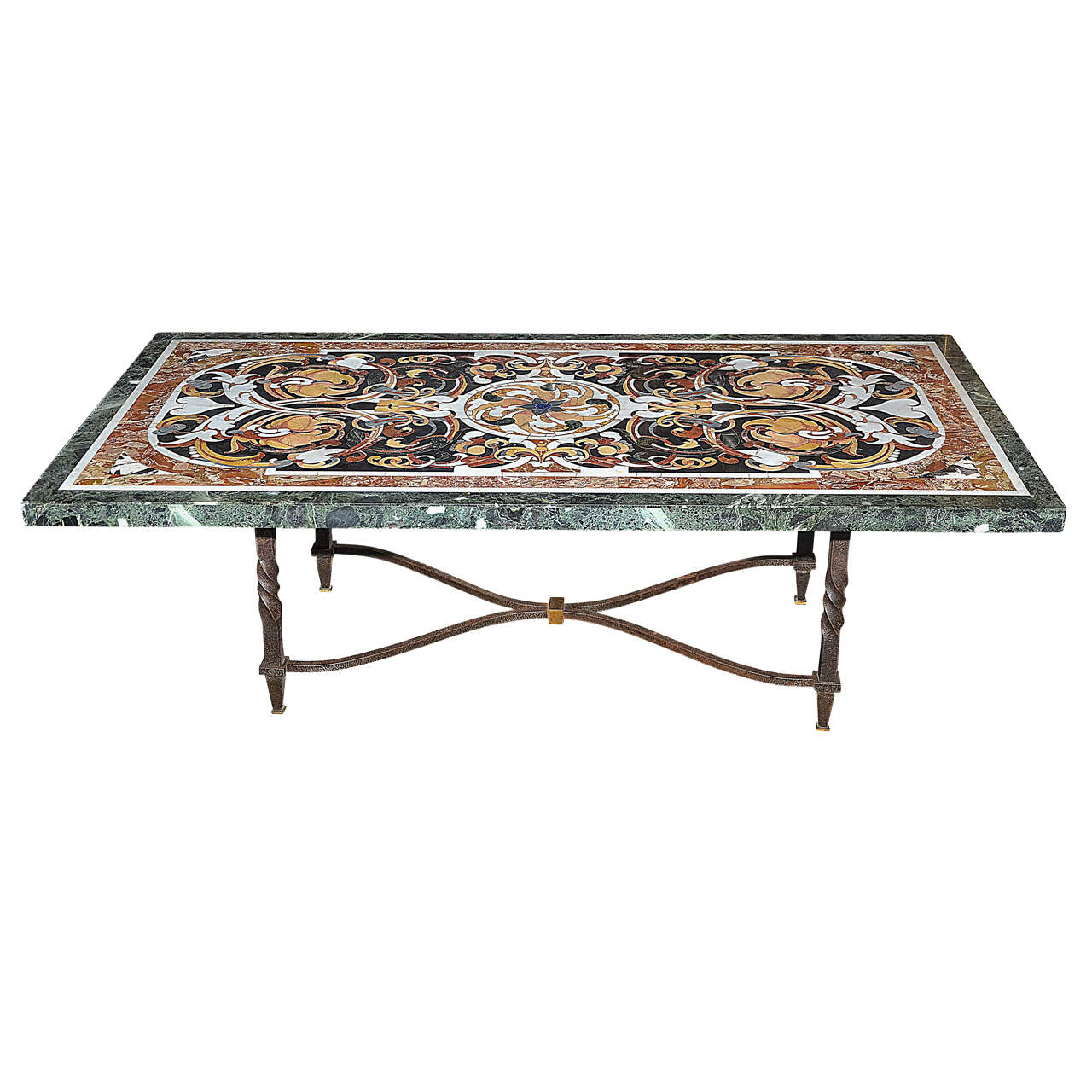 Early 20th Century Italian Coffee Table With Marble Marquetry At 1stdibs