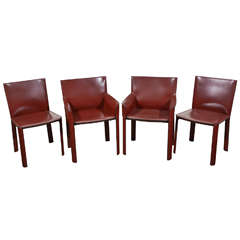 Set of Four Leather Chairs by Couro of Brazil