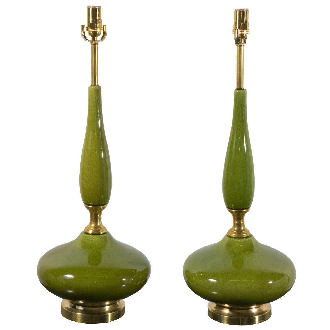 Pair Mid Century Green And Brass Genie Bottle Lamps At 1stdibs