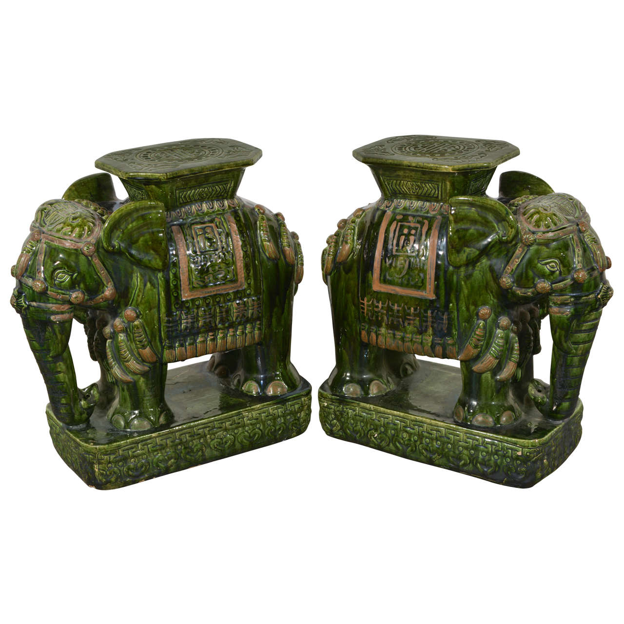 Pair Of Vintage Elephant Garden Stools At 1stdibs