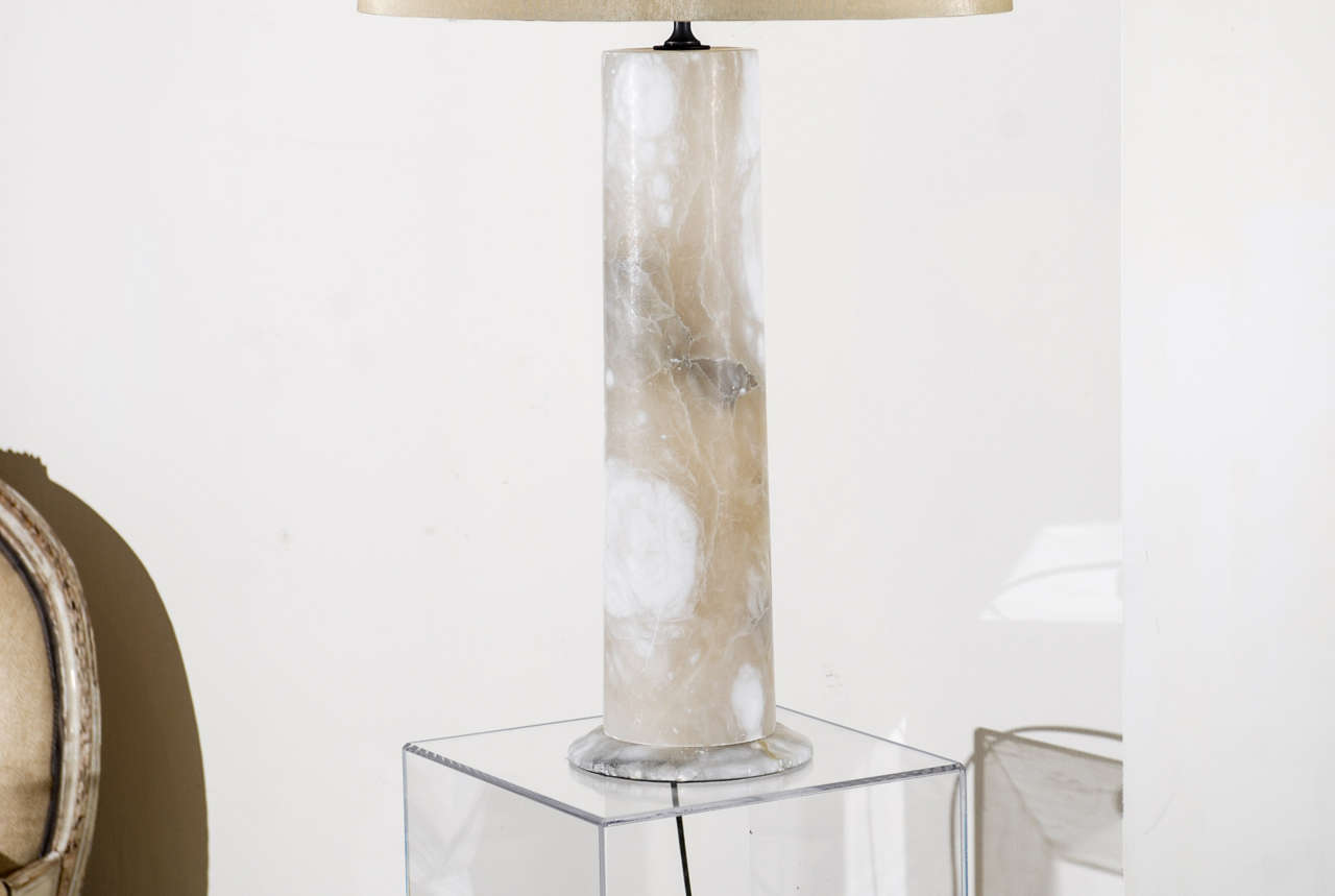 Exceptional Pair Of Vintage Cylindrical Marble Lamps At