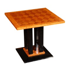 Amboyna and Zebrano Wood Parquetry Side Table, France, circa 1930s