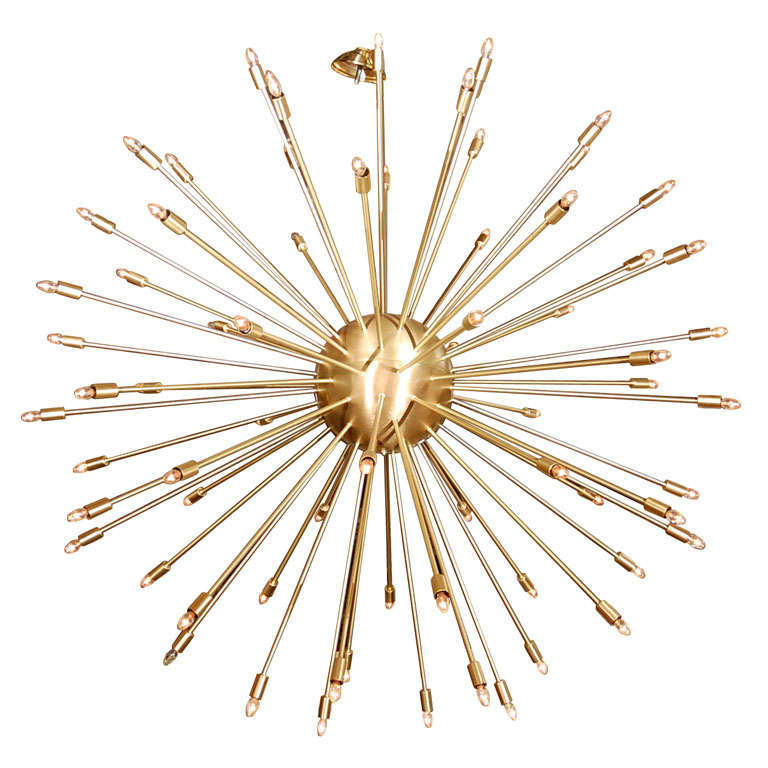 A 72 Lights Brass Sputnik Light Fixture