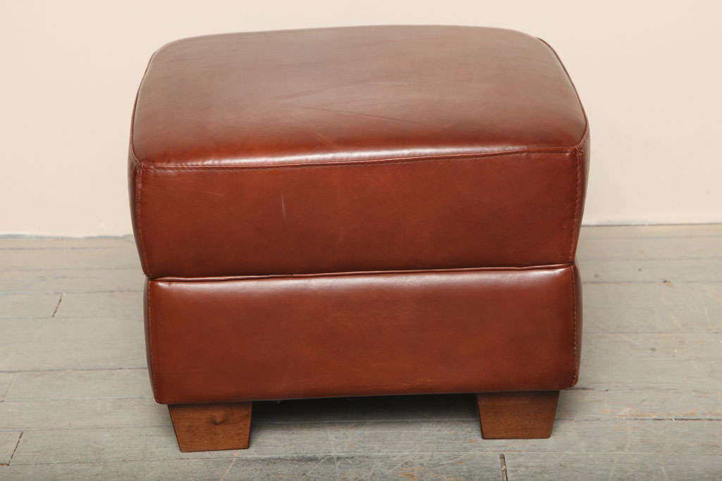 art deco leather pouf ottoman at 1stdibs. Black Bedroom Furniture Sets. Home Design Ideas