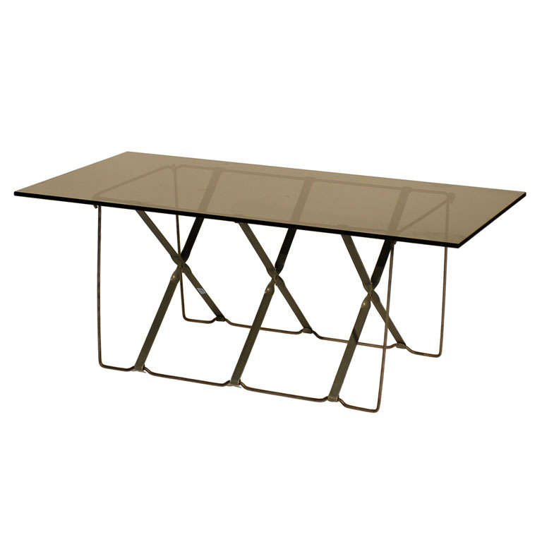 Unusual Industrial Coffee Table With Smoked Glass Top At 1stdibs