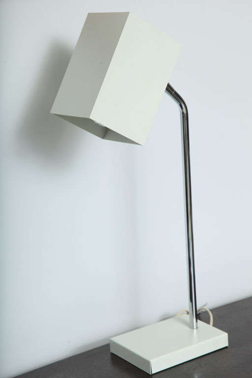Mid-Century Modern Cube White Desk Lamp by Robert Sonneman For Sale