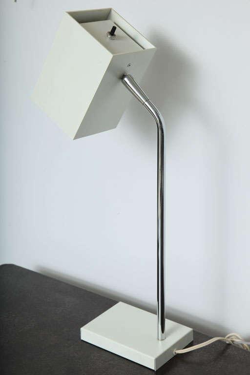 Chrome Cube White Desk Lamp by Robert Sonneman For Sale