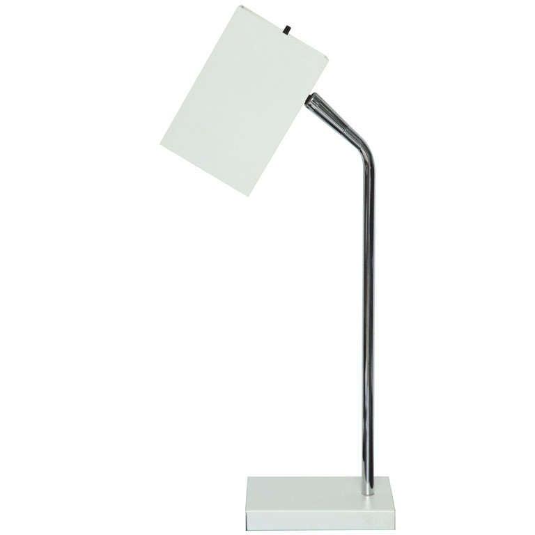 Cube White Desk Lamp by Robert Sonneman For Sale