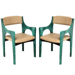 Pair of 1960s Exceptional Bridge Chairs by Aldo Tura