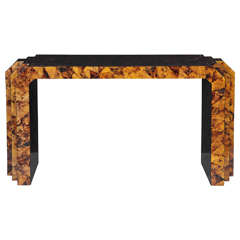 Maitland-Smith Coconut Veneer Console Table with Step-Back Sides