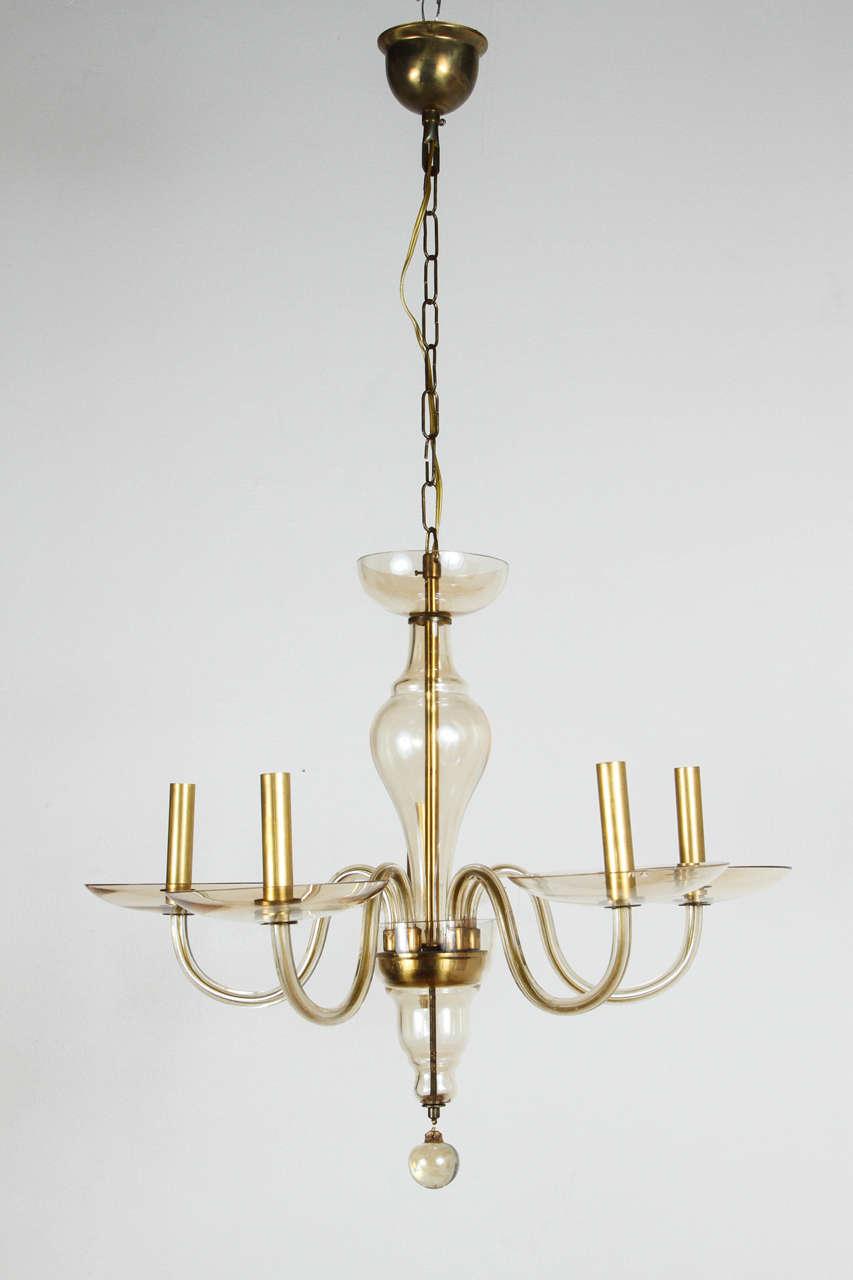 Mid-Century Murano candelabra newly rewired for five 75 watt bulbs.