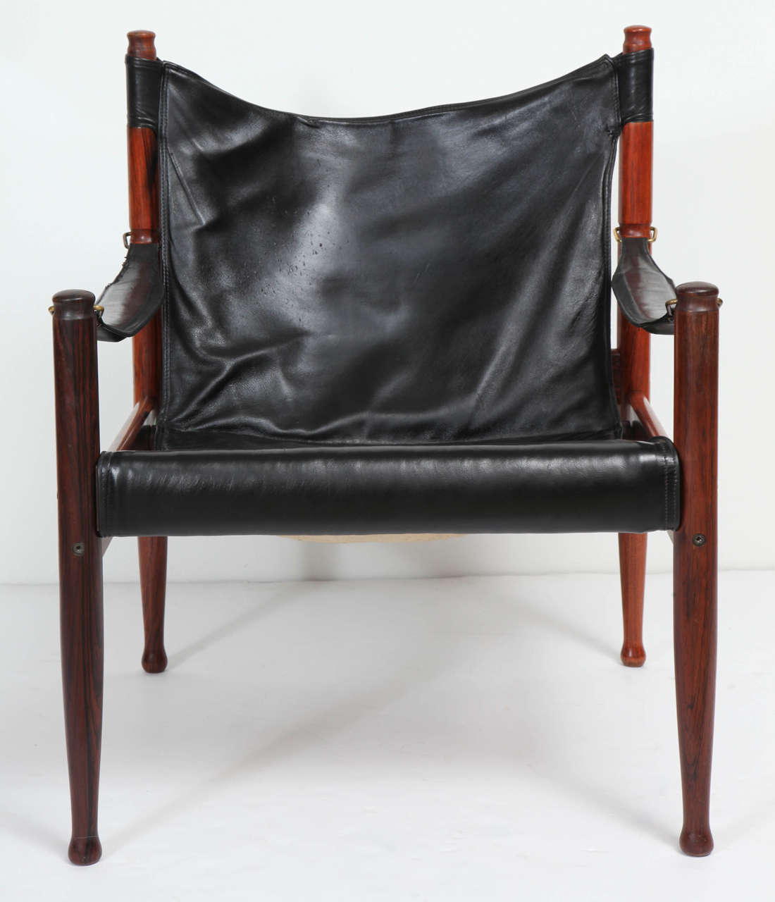 Black leather arm chair - Danish Rosewood And Black Leather Armchair By Erik Worts 2