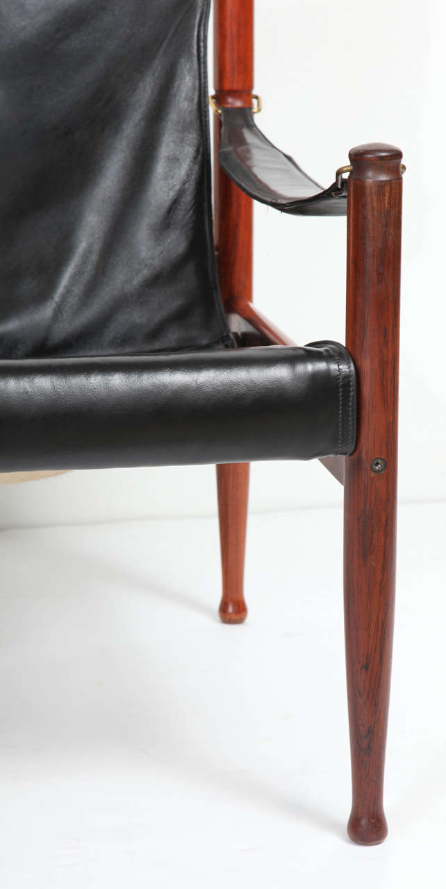 Mid Century Modern Danish Rosewood And Black Leather Armchair By Erik Worts  For Sale