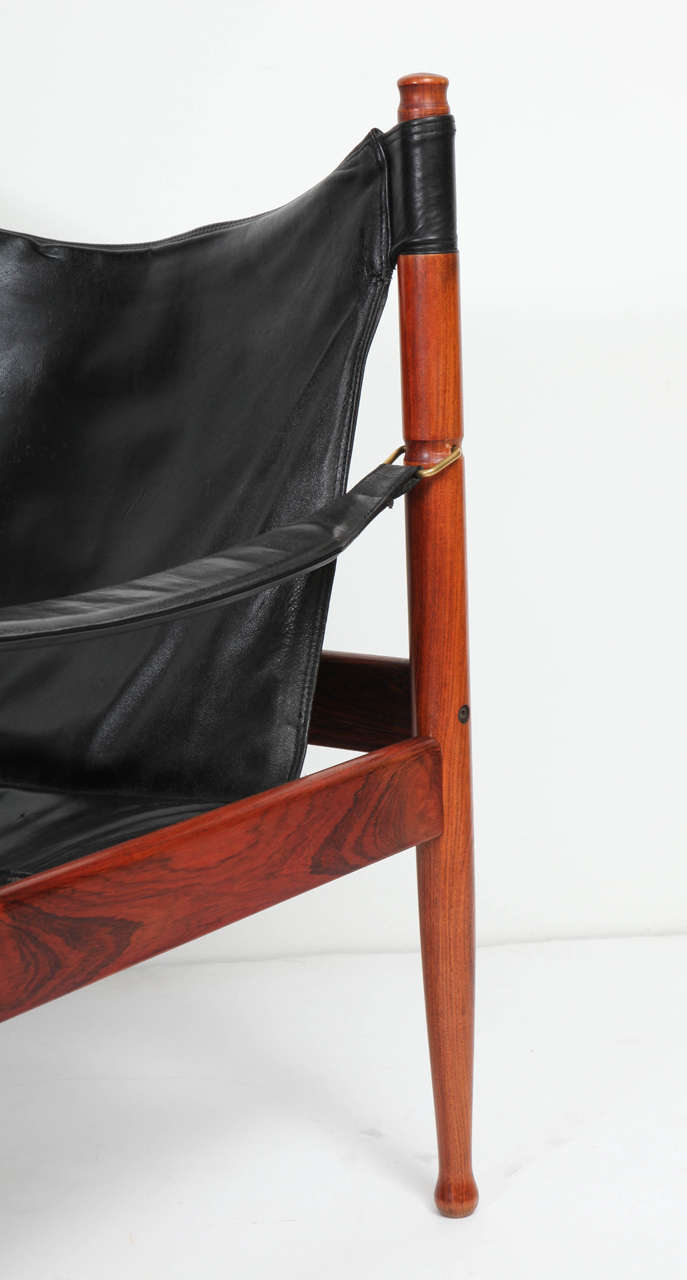 Brass Danish Rosewood and Black Leather Armchair by Erik Worts For Sale