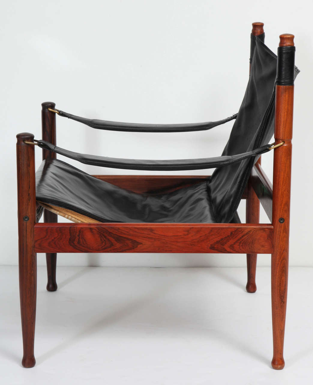 Danish Rosewood and Black Leather Armchair by Erik Worts For Sale 2