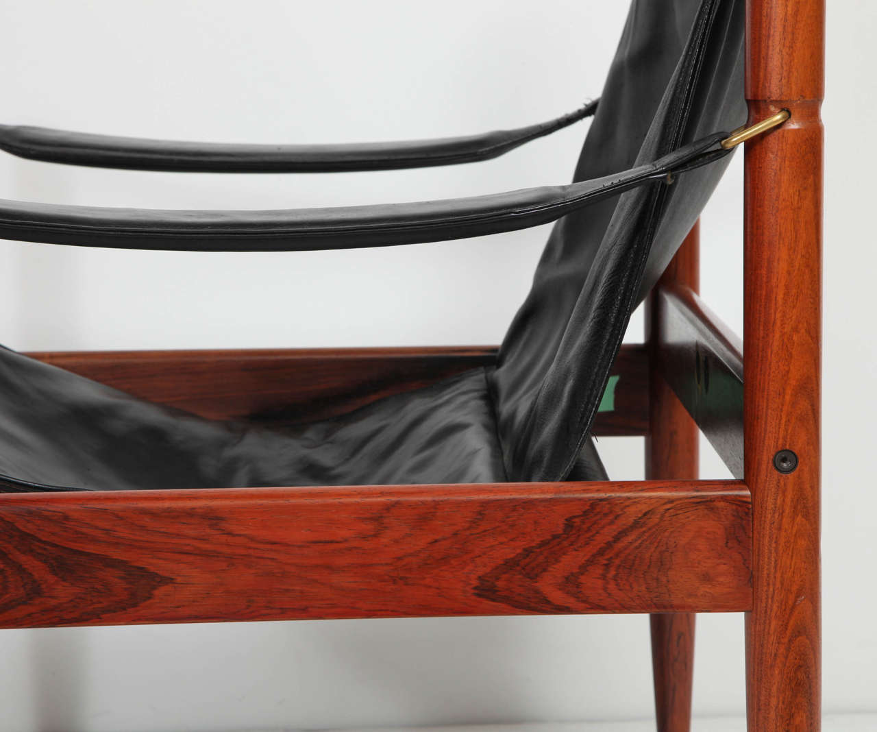 Danish Rosewood and Black Leather Armchair by Erik Worts For Sale 3