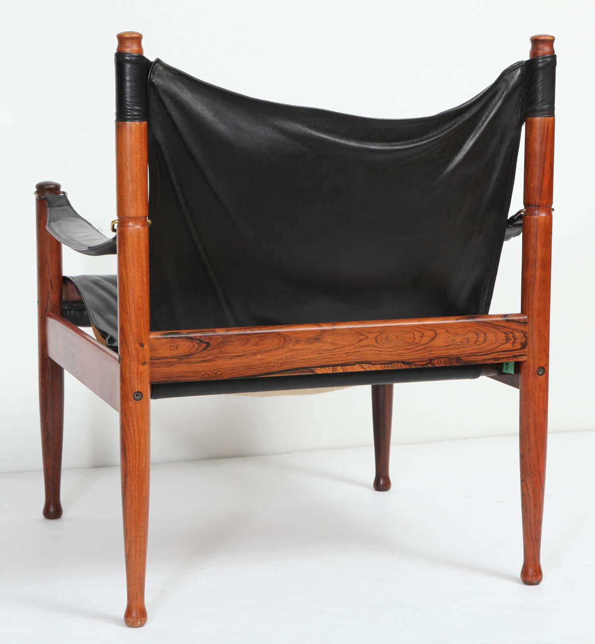 Danish Rosewood and Black Leather Armchair by Erik Worts For Sale 4