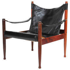 Danish Rosewood and Black Leather Armchair by Erik Worts