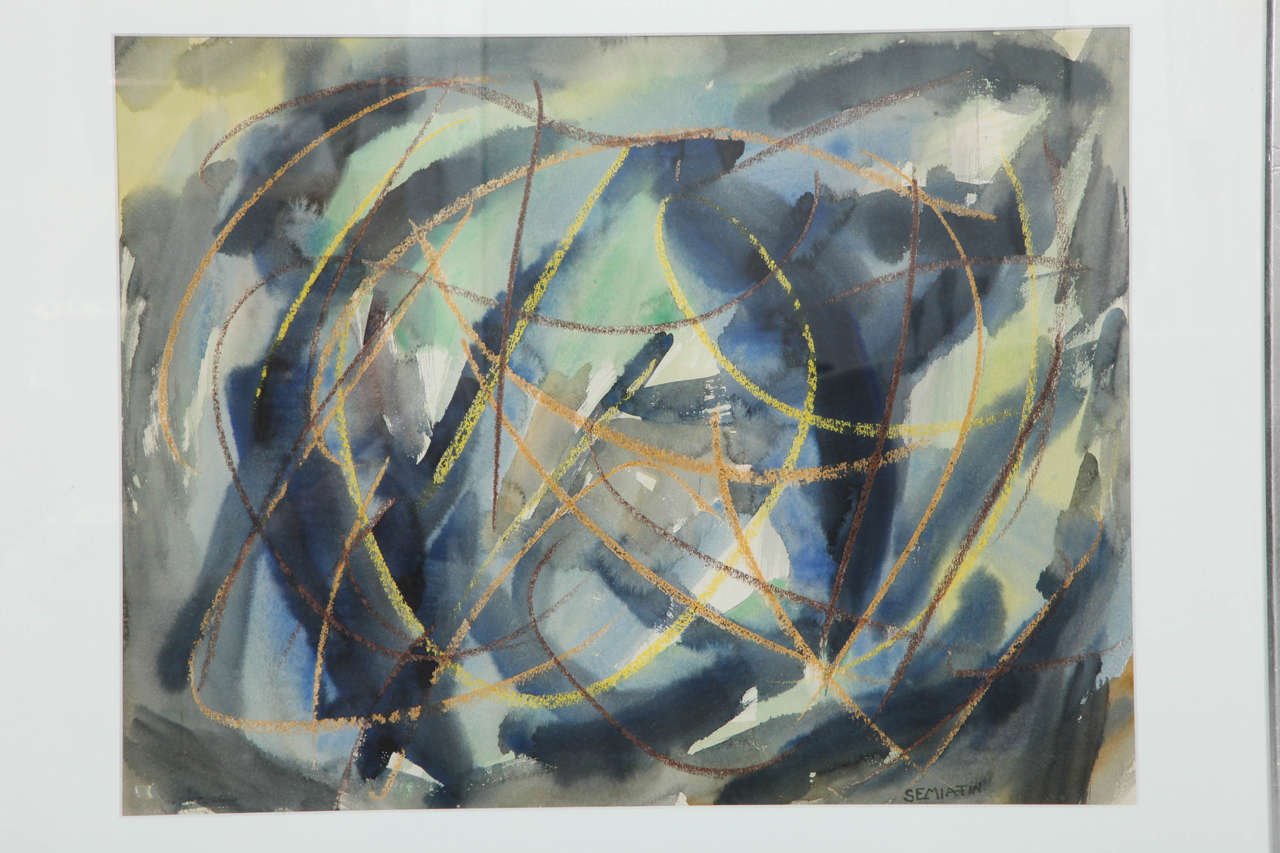 Mid-Century Modern Watercolor by Jacob Semiatin For Sale