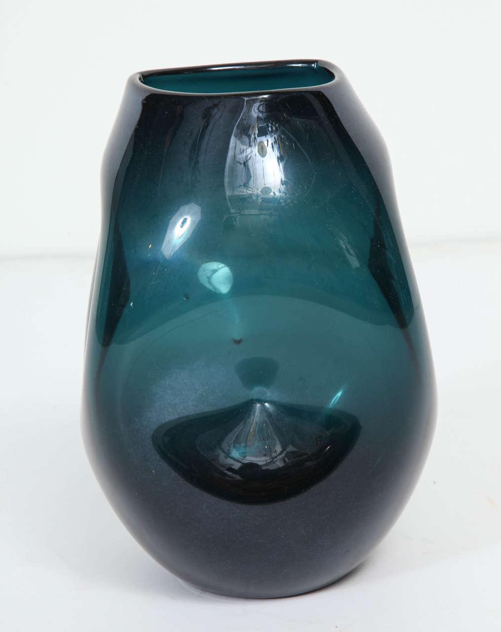 Italian Empoli Jade Green Glass Vase For Sale