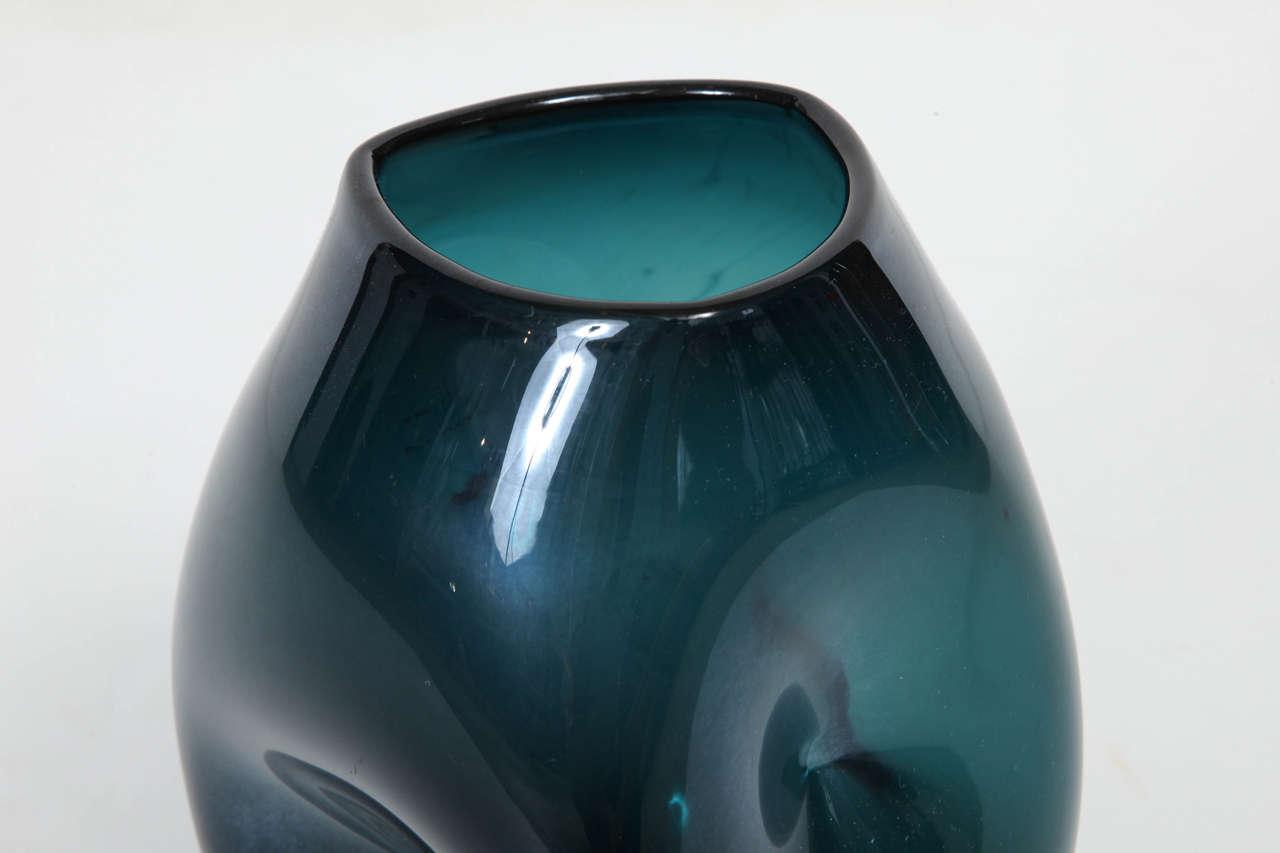 Empoli Jade Green Glass Vase For Sale 2