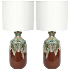 Pair of Danish Modern Drip Glaze Ceramic Lamps