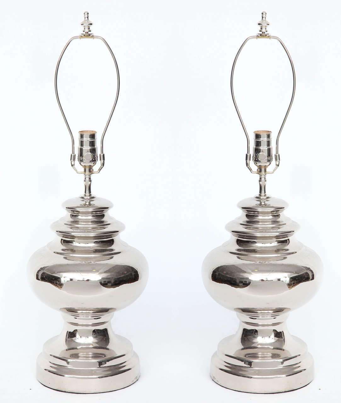 Pair of Scandinavian Modern platinum glazed ceramic lamps by Bitossi for Bergboms. Rewired for use in the USA, 100W max bulb.
