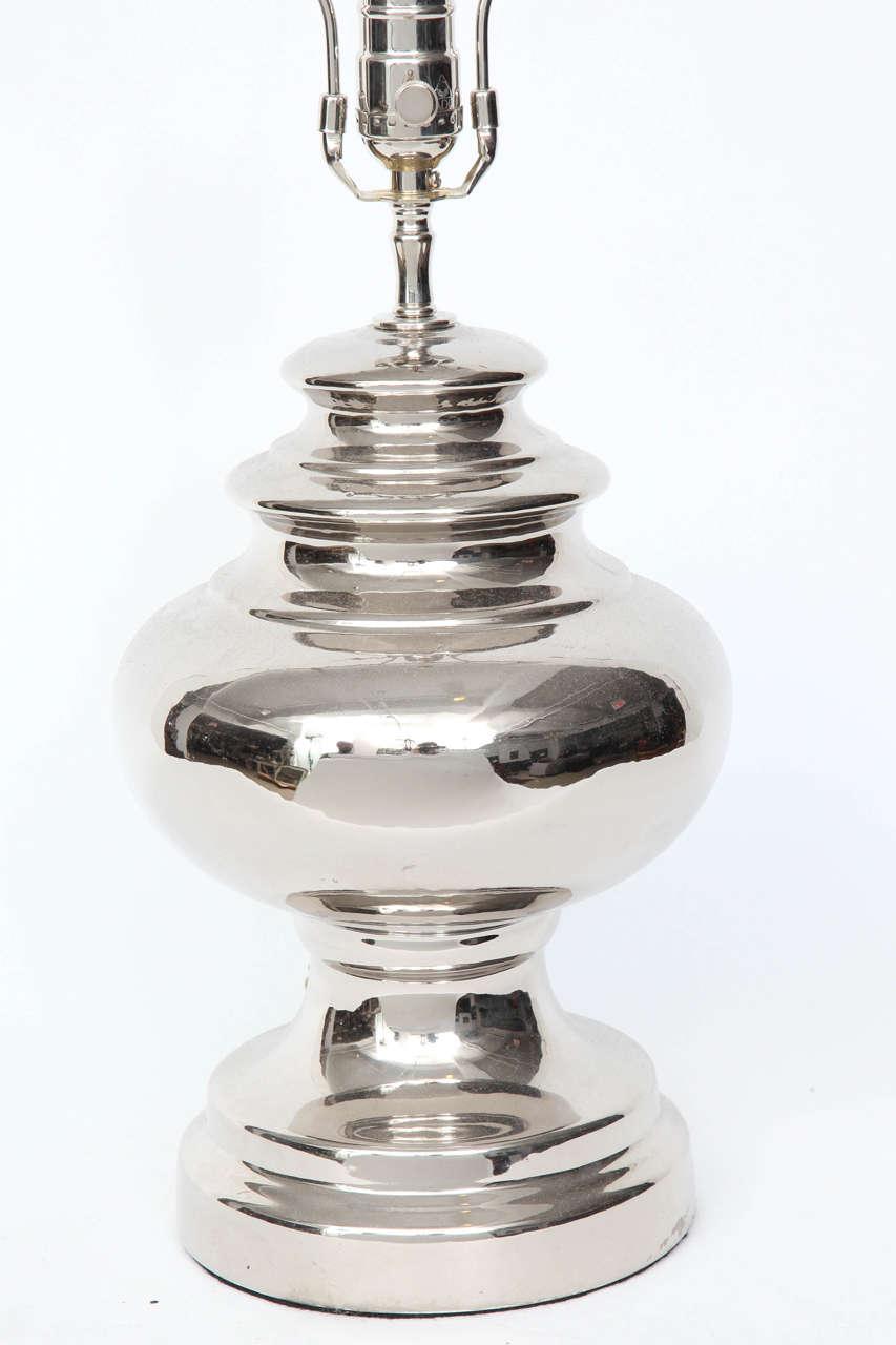 Scandinavian Modern Bitossi Platinum Glazed Ceramic Lamps For Sale