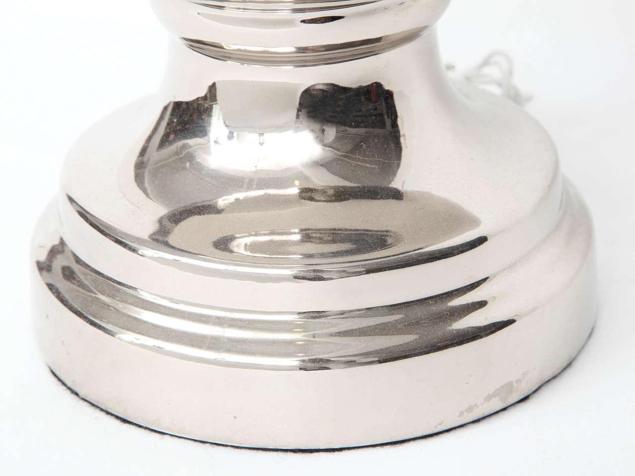 Nickel Bitossi Platinum Glazed Ceramic Lamps For Sale