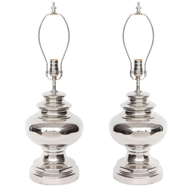 Bitossi Platinum Glazed Ceramic Lamps For Sale