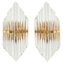 Camer Gilt Brass and Crystal Sconces, Two Pairs