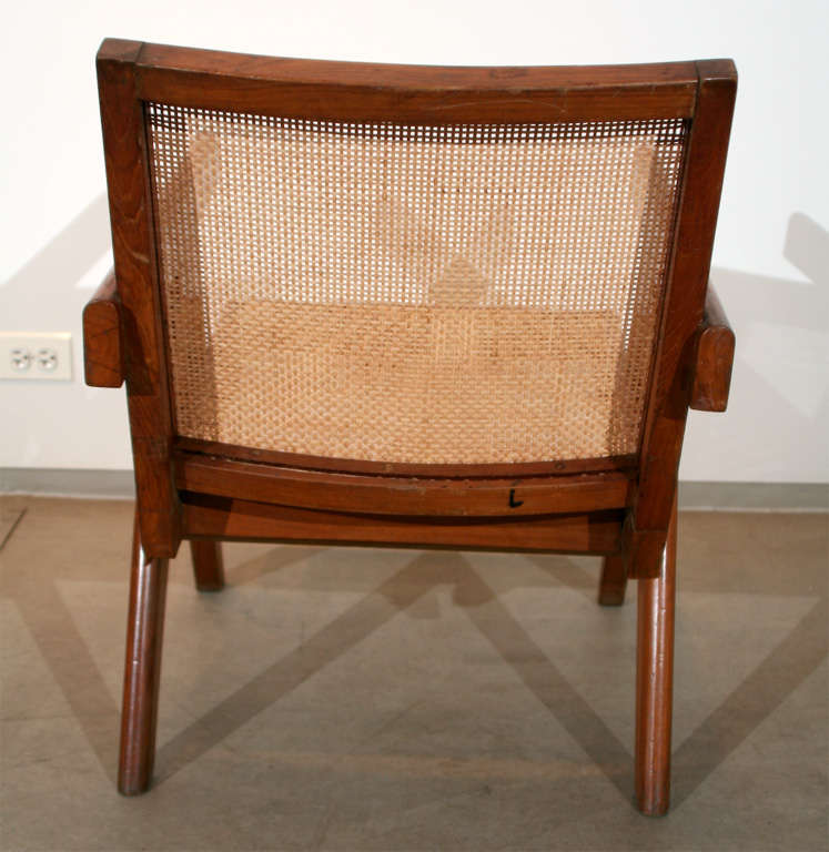 Cane Pair of Arm Chairs by Pierre Jeanneret For Sale