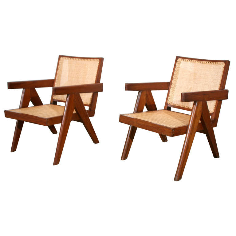 Pair of Arm Chairs by Pierre Jeanneret For Sale