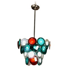 Murano Glass Art Deco Style Glass Disc Fixture