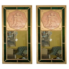 Pair of Finest Maison Jansen French Directoire Style Trumeau Mirrors