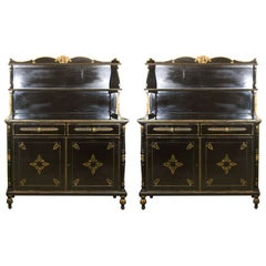 Pair of Etageres Bookcases Stamped Jansen Ebonized And Parcel Gilt All Original