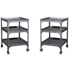 Pair of Industrial Metal End Tables