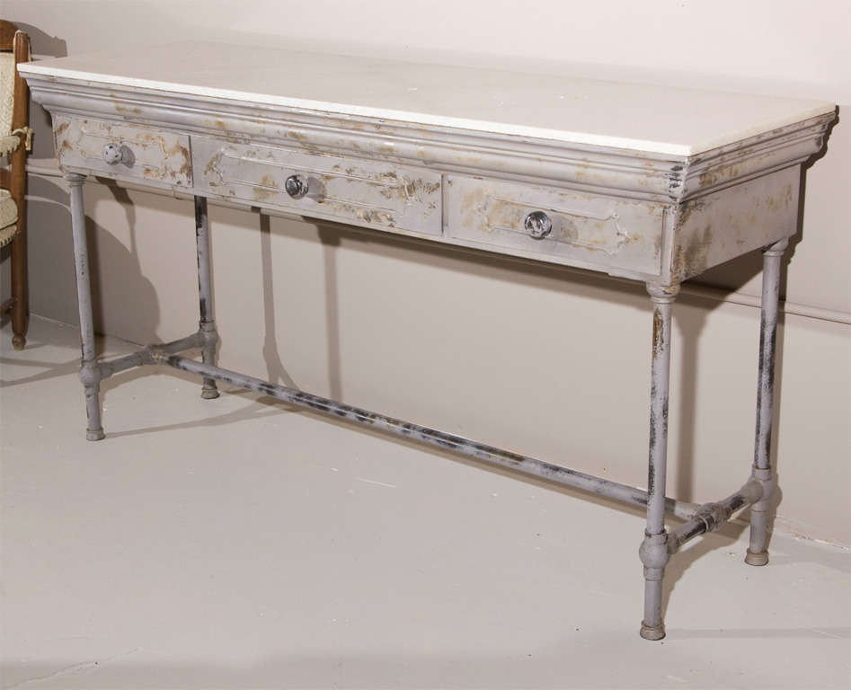Beau An Industrial Metal Console Table With White Rectangular Marble Top, Three  Drawers. The Marble