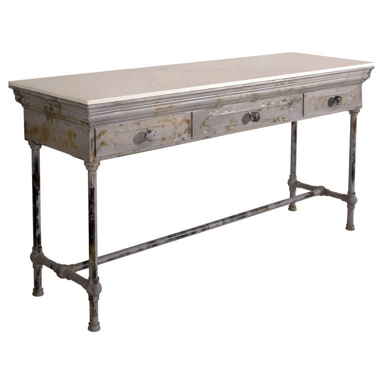 Industrial marble top metal console table at stdibs
