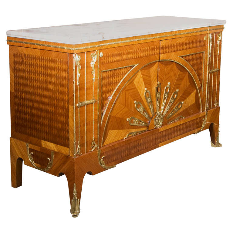French Art Deco Custom Quality Marble-Top Commode