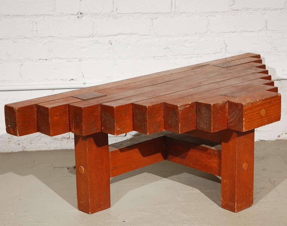 Triangular wood block table at stdibs