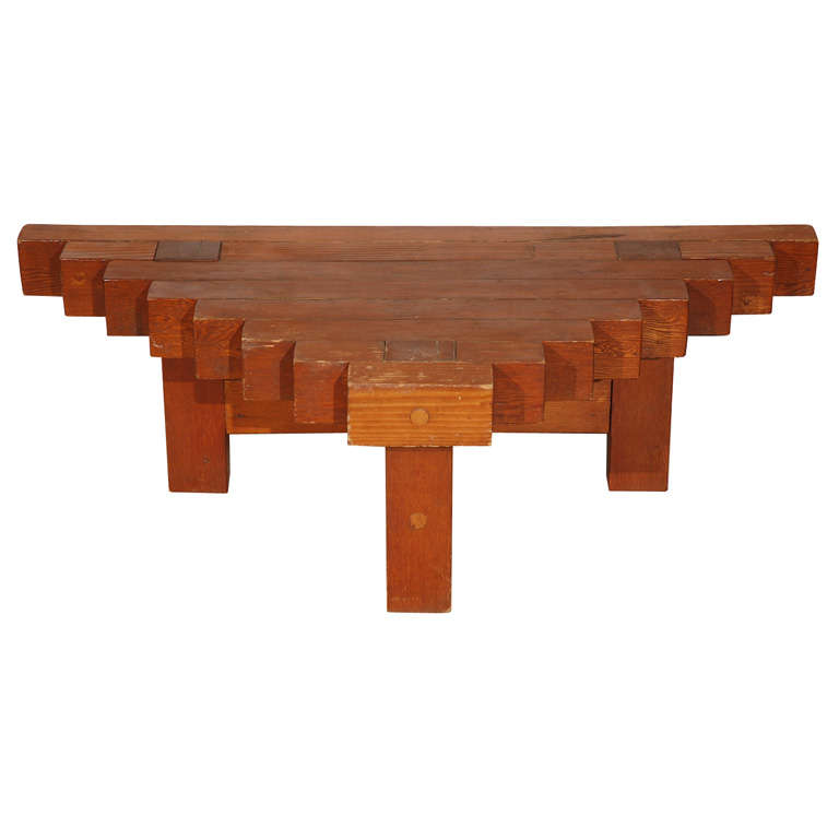 Triangular Wood Block Table At 1stdibs
