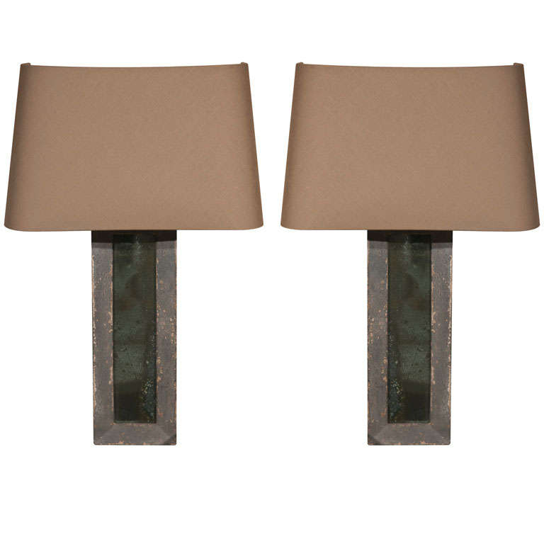 Mirrored Wall Sconces with Linen Shades at 1stdibs