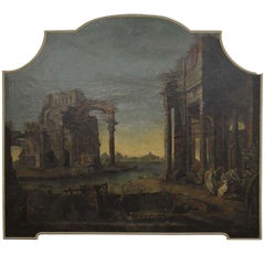 A Monumental Roman Painting of  Ancient Ruins and People