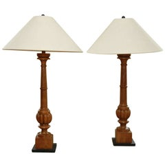 Pair Tall Carved Wood Lamps